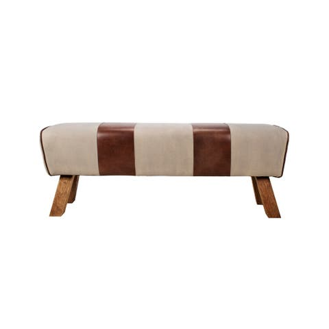 Aurelle Home Modern Eclectic Leather and Canvas Bench