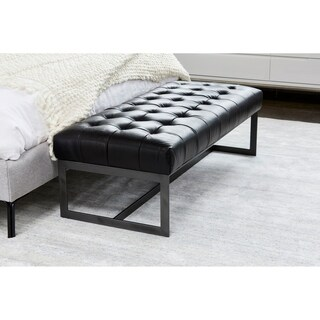 Aurelle home Modern Black Leather and Iron Bench