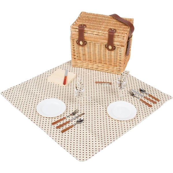 """15"""" Wicker Picnic Basket with Leather Carry Strap by Trademark Innovations"""