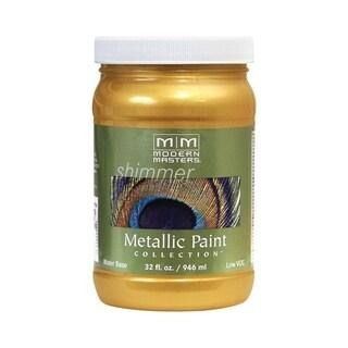 Modern Masters Shimmer Interior Metallic Paint Pale Gold Satin 1 qt.