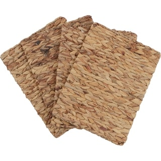 """16""""x 12"""" Rectangular Woven Indoor or Outdoor Placemats of Natural Water Hyacinth by Trademark Innovations (Set of 4)"""