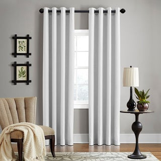 """Grand Luxe 100-Percent Linen Gotham Grommet Top Curtain Panel 84""""L in Grey (As Is Item)"""