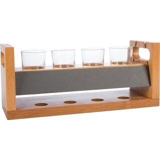 """14"""" 4 Glass Craft Beer Flight Tasting Set with Chalkboard by Trademark Innovations"""