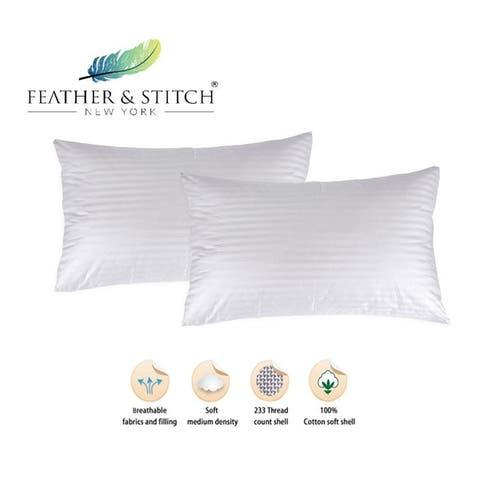 "Set of 2 Hypoallergenic Sleeping Pillows (20""x36"") - White"