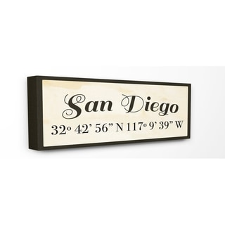 Stupell Industries Coordinates San Diego Wall Art - 10 x 24  sc 1 st  Overstock.com & Shop San Diego City Limit Stretched Canvas Wall Art - On Sale - Free ...