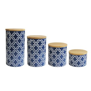 Quatrefoil Navy Set of 4 Canisters