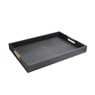 Rectangular Serving Tray With Gold Handles