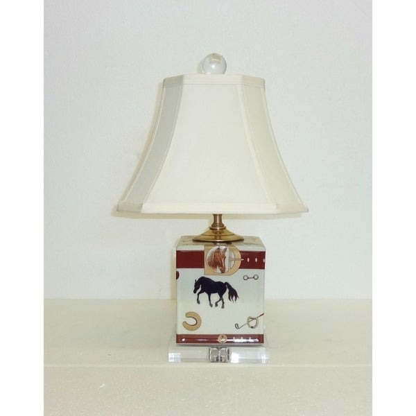 Cream Porcelain Horse Table Lamp