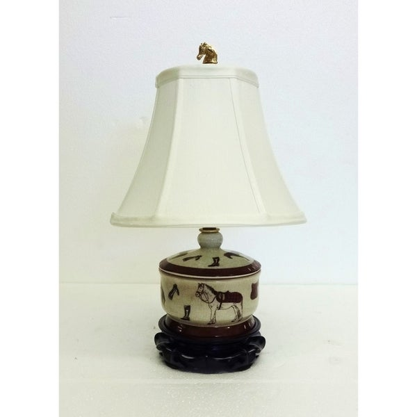 Horse Design Cover Box Porcelain Table Lamp