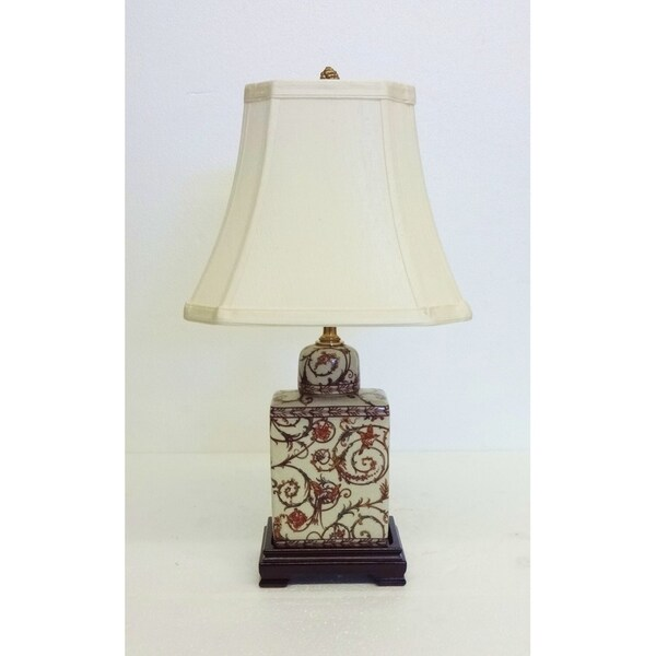 Scroll Trellis Porcelain Flask Table Lamp