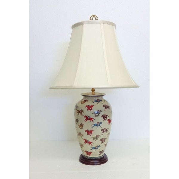 Jockey Design Round Porcelain Table Lamp