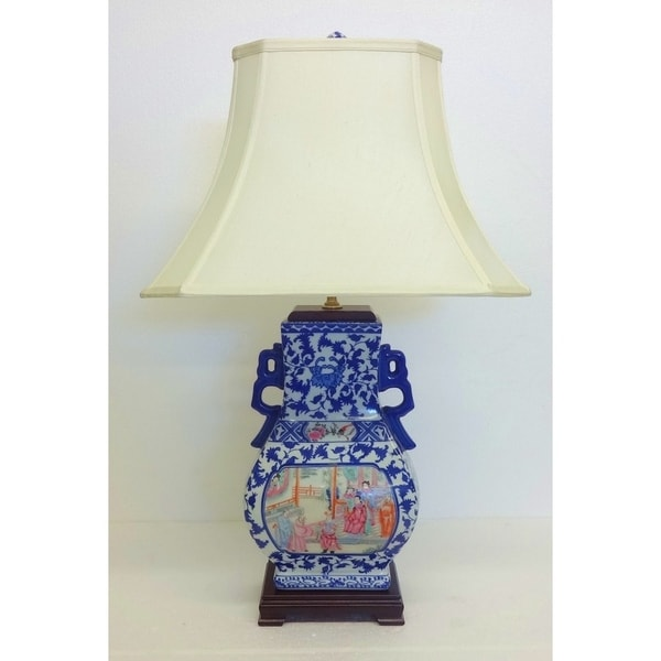 Famille Gourd Painted Blue/ White Porcelain Table Lamp with Cream Silk Bell Shade