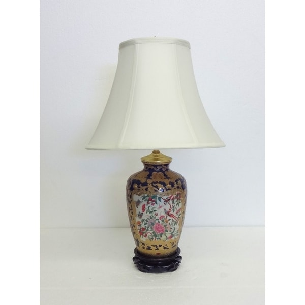 Royal Medallion Multicolored Porcelain Round Table Lamp