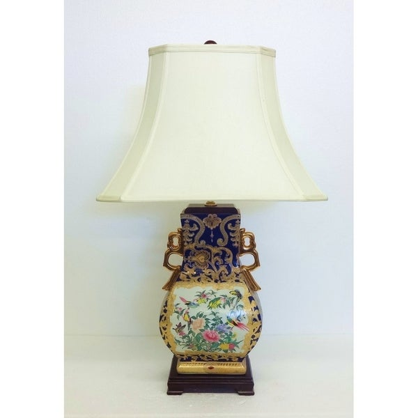 Royal Medallion Gourd Blue Painted Porcelain Table Lamp