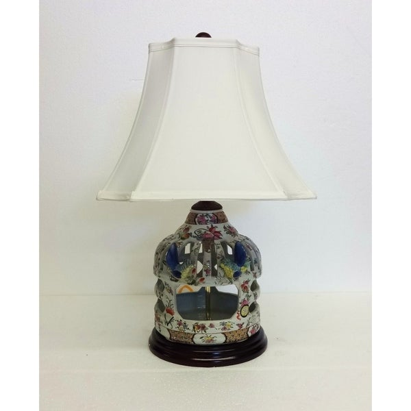 Floral Bird Cage Porcelain Table Lamp