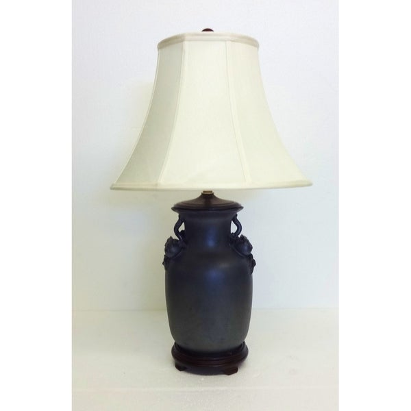 Dark Matte Gray Pomegranate Porcelain Table Lamp