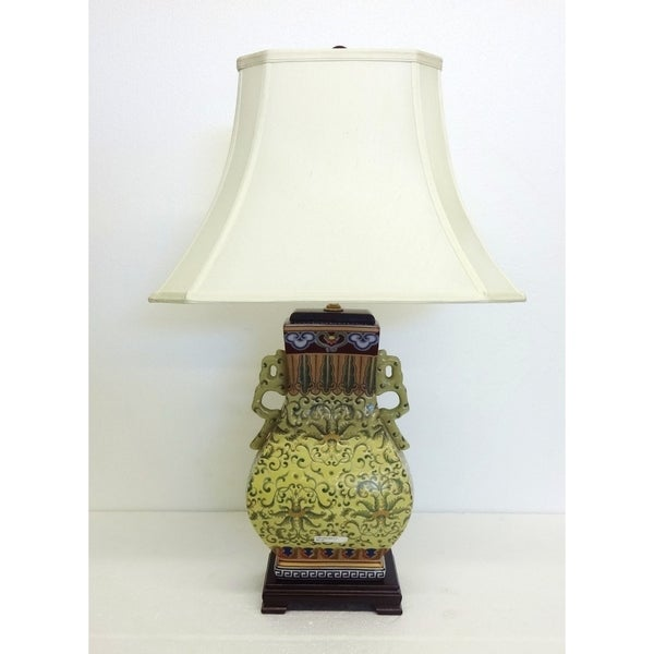 Yellow Empress Gourd Porcelain Table Lamp