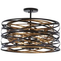 Vortic Flow Dark Bronze W/Mosaic Gold Inte Semi Flush By Minka Lavery