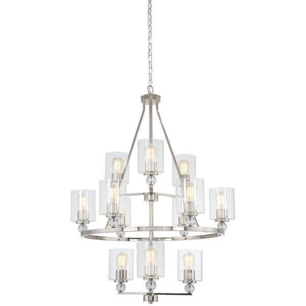 Minka Lavery Studio 5 Polished Nickel Metal 12-light Chandelier with Clear Glass Shades