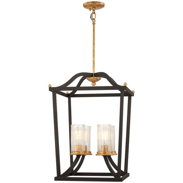 Minka Lavery Posh Horizon Sand Black Goldtone 4-light Pendant