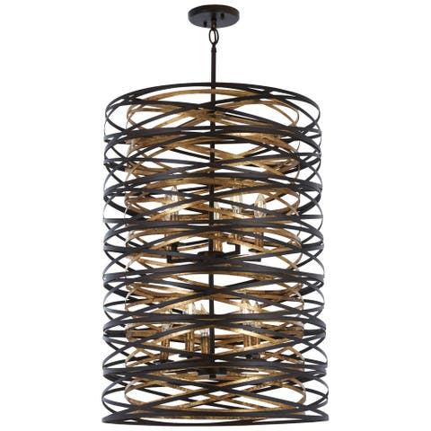Minka Lavery Vortic Flow 10-Light Dark Bronze W/Mosaic Gold Inte Pendant