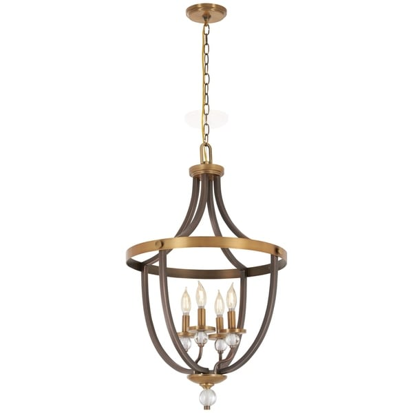 Minka Lavery Safra 4-Light Harvard Court Bronze W/Natural Pendant
