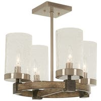 Minka Lavery Bridlewood 4-Light Stone Grey W/Brushed Nickel Semi Flush