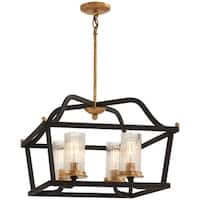 Minka Lavery Posh Horizon Sand Black with Gold Leaf Metal 4-light Pendant