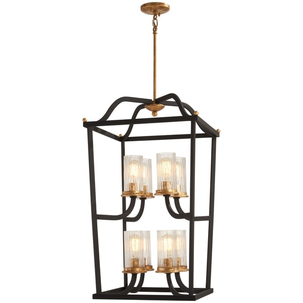 Minka Lavery Posh Horizon 8-Light Sand Black W/Gold Leaf Pendant