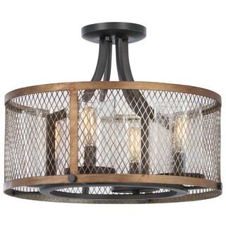 Minka Lavery Marsden Commons 4-Light Smoked Iron W/Aged Gold Semi Flush - Grey