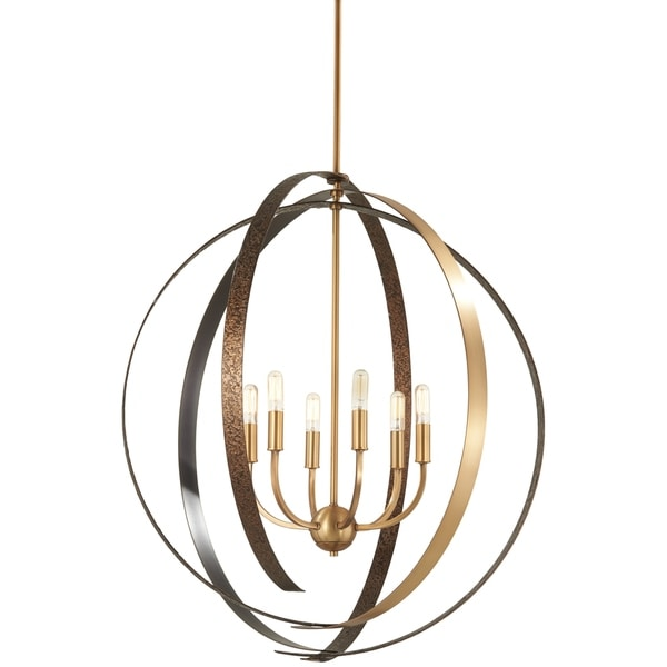 Minka Lavery Criterium Aged Brass and Forged Iron 6-light Pendant