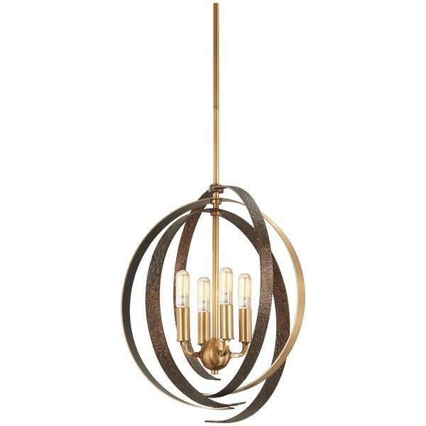 Minka Lavery Criterium 6-Light Aged Brass W/Textured Iron Pendant - Gold