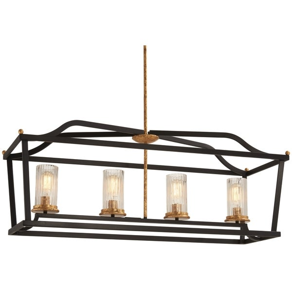 Minka Lavery Posh Horizon Sand Black Metal/Glass 4-light Island Fixture with Gold Leaf Accents