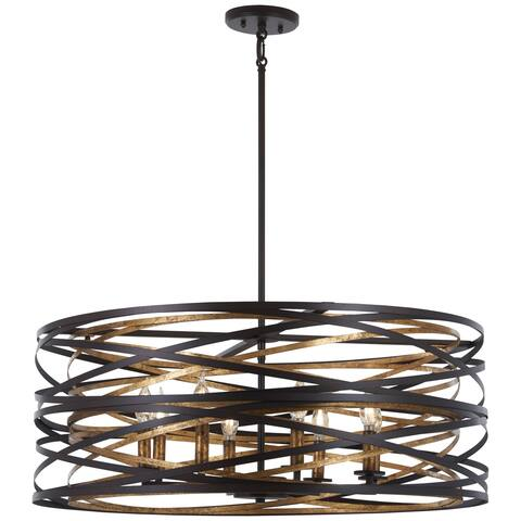 Minka Lavery Vortic Flow 8-Light Dark Bronze W/Mosaic Gold Inte Pendant