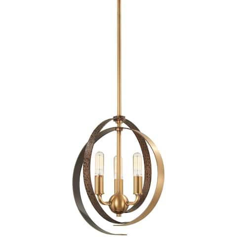 Minka Lavery Criterium 3-Light Aged Brass W/Textured Iron Pendant
