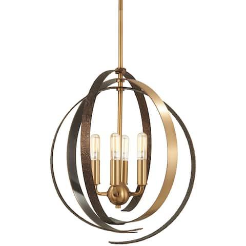 Minka Lavery Criterium 4-Light Aged Brass W/Textured Iron Pendant