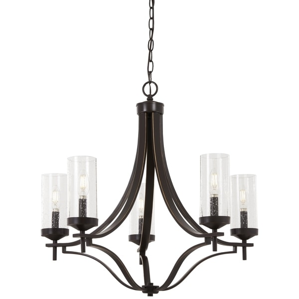 Minka-Lavery Elyton Downton Bronze Finish Metal 5-light Chandelier with Clear Seeded Glass Shades