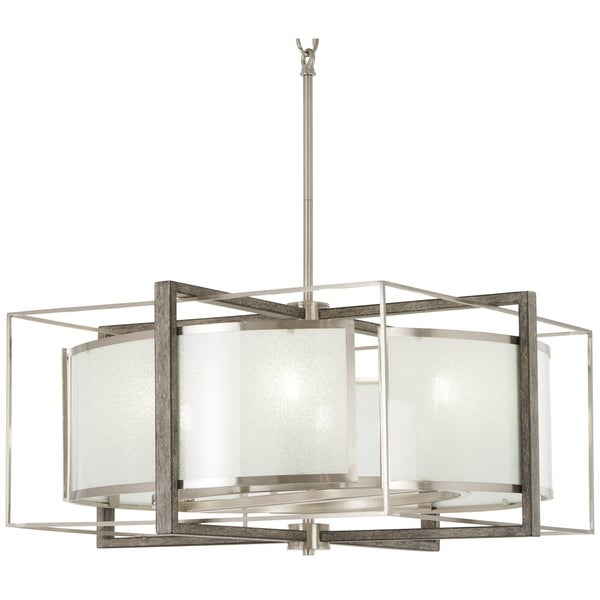 Minka Lavery Tyson's Gate Bronze Finish Brushed Nickel/Shale Wood/Glass 6-light Pendant