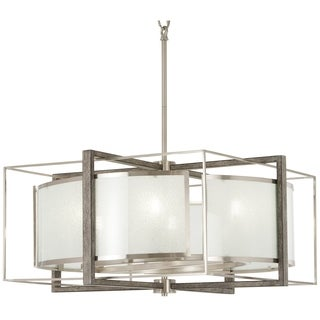Minka Lavery Tyson's Gate Bronze Finish Brushed Nickel/Shale Wood/Glass 6-light Pendant