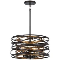 Minka Lavery Vortic Flow 5-Light Dark Bronze W/Mosaic Gold Inte Pendant