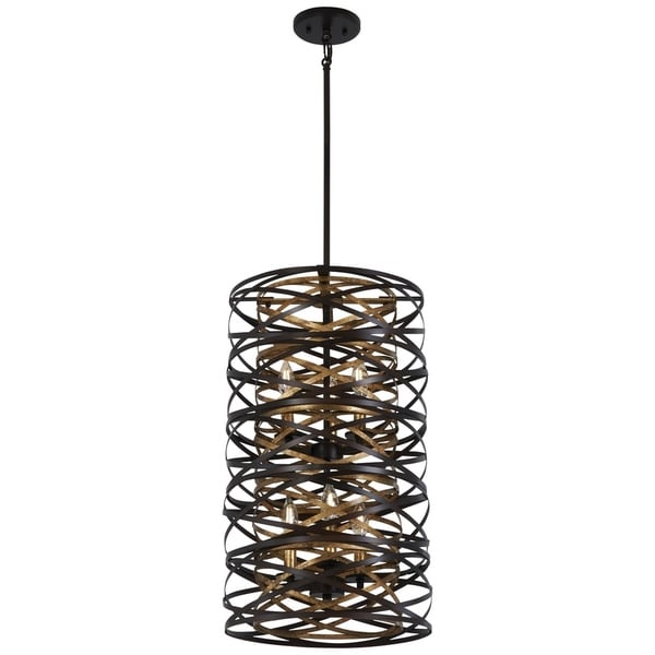 Minka Lavery Vortic Flow Dark Bronze with Mosaic Gold Interior 6-Light Pendant