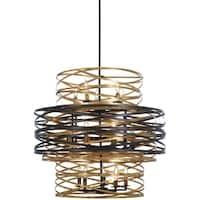Minka Lavery Vortic Flow 18-Light Dark Bronze W/Mosaic Gold Inte Chandelier