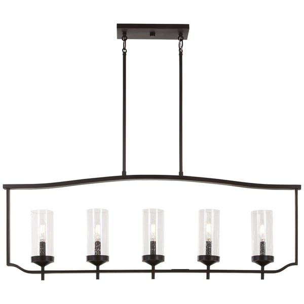 Minka-Lavery Elyton Downton Bronze-finished Metal 5-light Pendant Fixture with Clear Seeded Glass Shades
