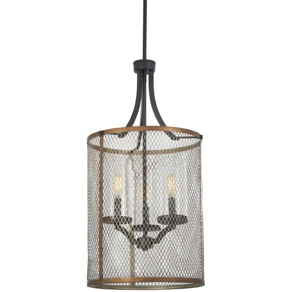 Minka Lavery Marsden Commons 3-Light Smoked Iron W/Aged Gold Pendant