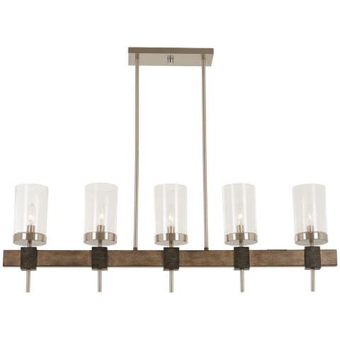 Minka Lavery Bridlewood 5-Light Stone Grey W/Brushed Nickel Island