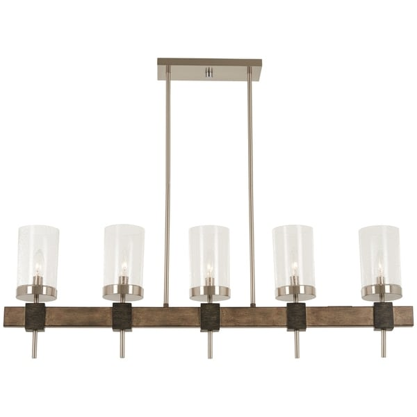 Minka Lavery Bridlewood Stone Grey Metal 5-light Island Fixture with Brushed Nickel Accents
