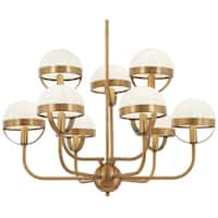 Minka Lavery Tannehill Antique Noble Brass 9-light Chandelier with Glass Shades