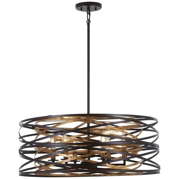 Minka Lavery Vortic Flow 6-Light Dark Bronze W/Mosaic Gold Inte Pendant
