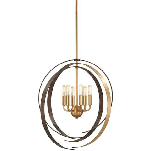Minka Lavery Criterium 6-Light Aged Brass W/Textured Iron Pendant