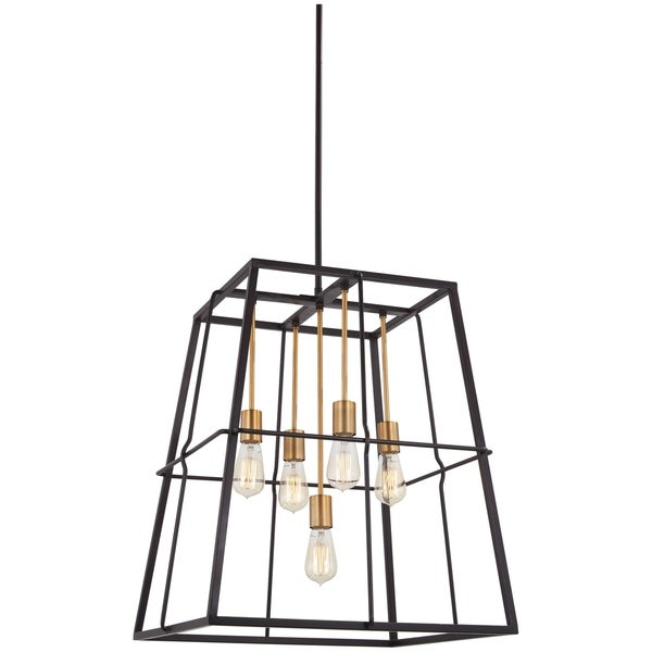 Keeley Calle Painted Bronze and Natural-brushed Brass 5-light Pendant Light